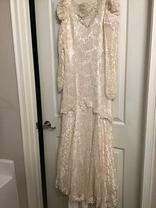 David's Bridal Cream Lace Vintage Wedding Dress Size 10 (M)