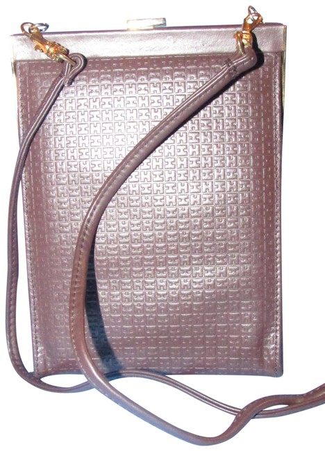 Item - Vintage Two Way Hinged Closure Brown Embossed 'h' Logo Print Leather with Bold Gold Hardware Cross Body Bag