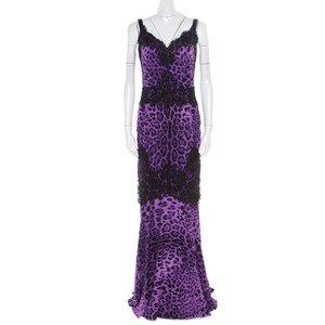 Purple Maxi Dress by Dolce&Gabbana Silk Lace Nylon Cotton
