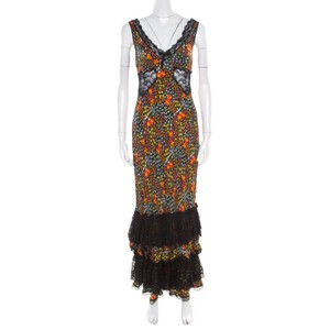 Black Maxi Dress by Dolce&Gabbana Silk Lace Print Floral