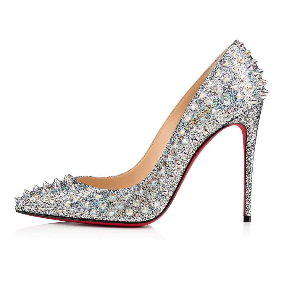 the best attitude 955ed 707ac Christian Louboutin Follies Spikes 100 Silver/Clear Ab Nappa Mica Pumps  Size EU 40.5 (Approx. US 10.5) Regular (M, B)