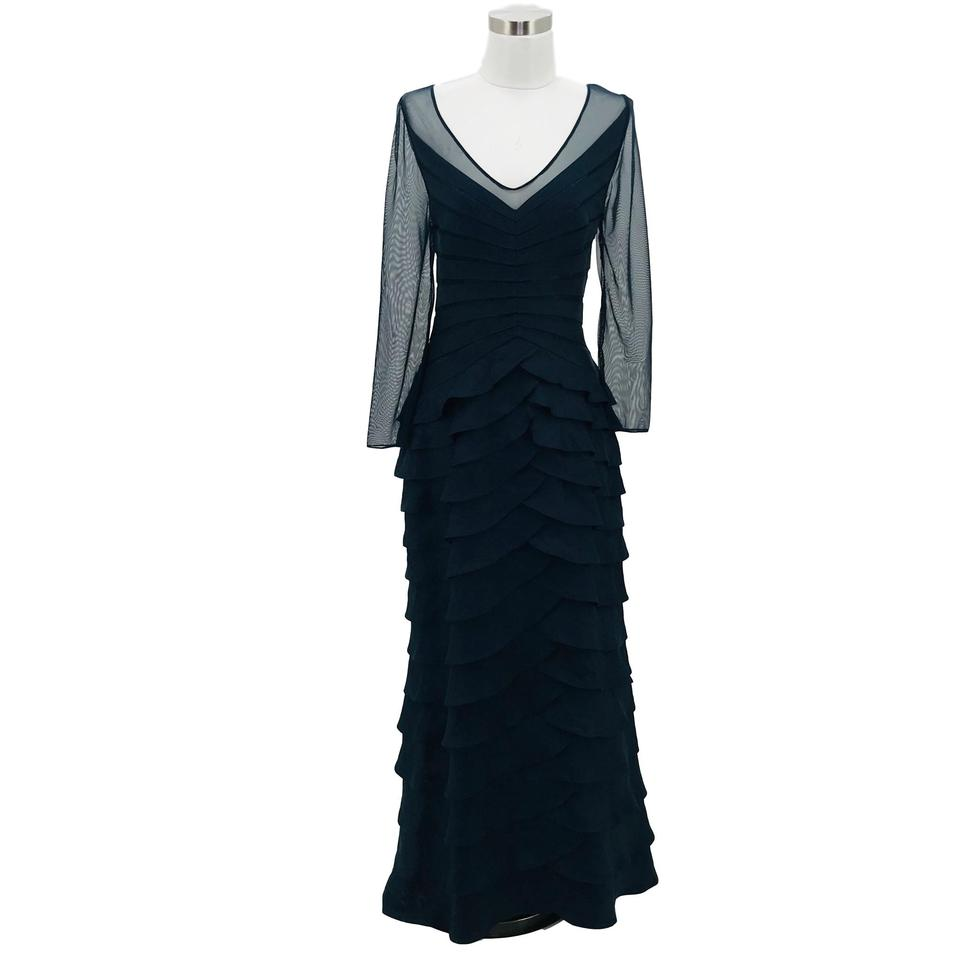 Adrianna Papell Navy Blue XL N137 Designer Solid Long Formal Dress Size 16 (XL, Plus 0x) 81% off retail