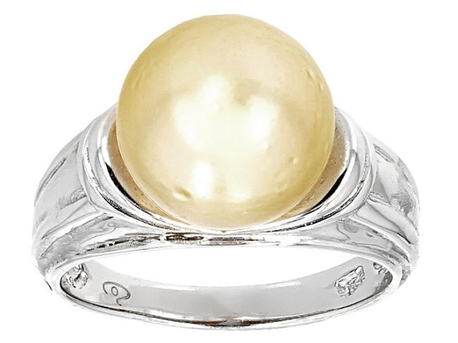 Item - Silver Cultured South Sea Pearl Platinum Over Sterling 10mm Ring