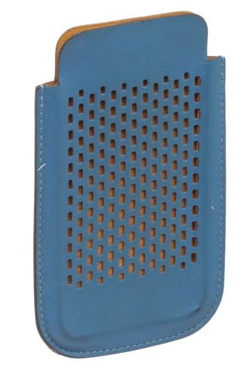 Hermès Hermes Blue Perforated Leather iPhone 4 Case Image 1