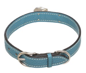 Hermès Hermes Blue Bleu Jean Togo Leather Palladium Plated Pet Collar