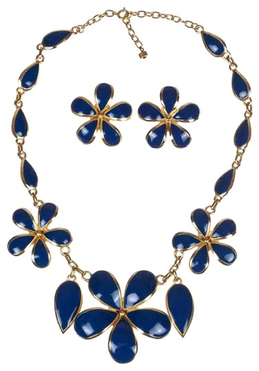 Preload https://img-static.tradesy.com/item/25703319/balenciaga-blue-and-gold-two-piece-and-enamel-flower-set-necklace-0-1-540-540.jpg