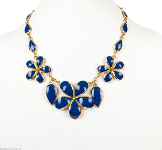 Balenciaga Balenciaga Two-Piece Gold and Blue Enamel Flower Set Image 1