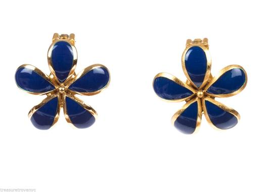 Balenciaga Balenciaga Two-Piece Gold and Blue Enamel Flower Set Image 2