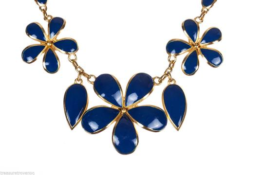 Balenciaga Balenciaga Two-Piece Gold and Blue Enamel Flower Set Image 3
