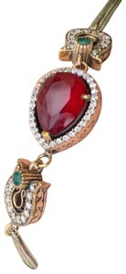 Royal Queen Collection VINTAGE RUBY EMERALD BRACELET Solid 925 Sterling Silver/Gold WOW! Gems: Brilliant Facet Pear Cut Ruby, Emeralds, Diamond Color Topaz
