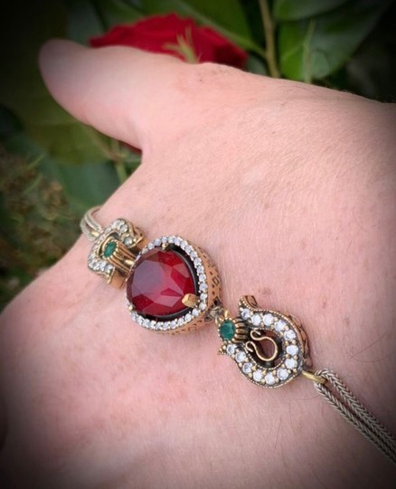 Royal Queen Collection VINTAGE RUBY EMERALD BRACELET Solid 925 Sterling Silver/Gold WOW! Gems: Brilliant Facet Pear Cut Ruby, Emeralds, Diamond Color Topaz Image 2