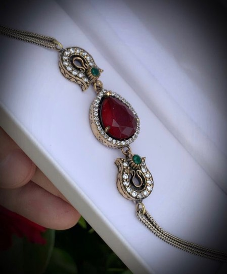 Royal Queen Collection VINTAGE RUBY EMERALD BRACELET Solid 925 Sterling Silver/Gold WOW! Gems: Brilliant Facet Pear Cut Ruby, Emeralds, Diamond Color Topaz Image 3