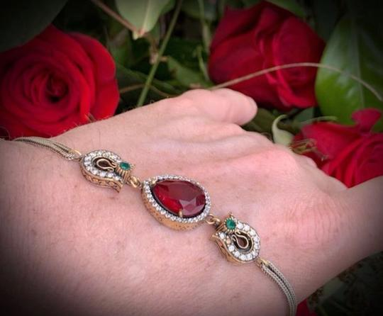 Royal Queen Collection VINTAGE RUBY EMERALD BRACELET Solid 925 Sterling Silver/Gold WOW! Gems: Brilliant Facet Pear Cut Ruby, Emeralds, Diamond Color Topaz Image 4