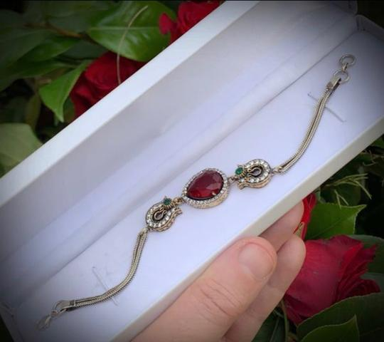 Royal Queen Collection VINTAGE RUBY EMERALD BRACELET Solid 925 Sterling Silver/Gold WOW! Gems: Brilliant Facet Pear Cut Ruby, Emeralds, Diamond Color Topaz Image 6