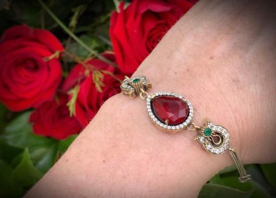 Royal Queen Collection VINTAGE RUBY EMERALD BRACELET Solid 925 Sterling Silver/Gold WOW! Gems: Brilliant Facet Pear Cut Ruby, Emeralds, Diamond Color Topaz Image 7