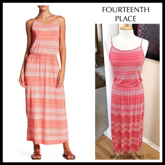 Coral, White Maxi Dress by Fourteenth Place Image 1