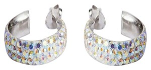 9.2.5 Sterling Silver Aurora Borealis Rhinestone Hoop Earrings