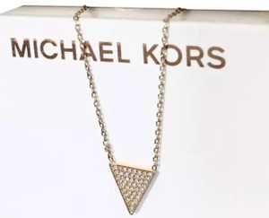 Michael Kors MK Crystals Pave Triangle Gold Pendant Minimalist Necklace