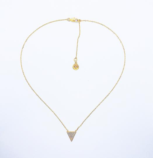 Michael Kors MK Crystals Pave Triangle Gold Pendant Minimalist Necklace Image 1