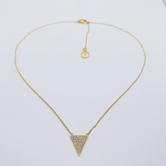 Michael Kors MK Crystals Pave Triangle Gold Pendant Minimalist Necklace Image 5