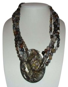 SS and Ellis Modernist Sterling Silver and Grey and White Banded Agate Bead Necklac