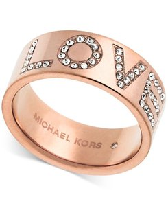 Michael Kors Rose Gold Mk Crystal Pave LOVE Thick Chunky Band Sz7 Ring