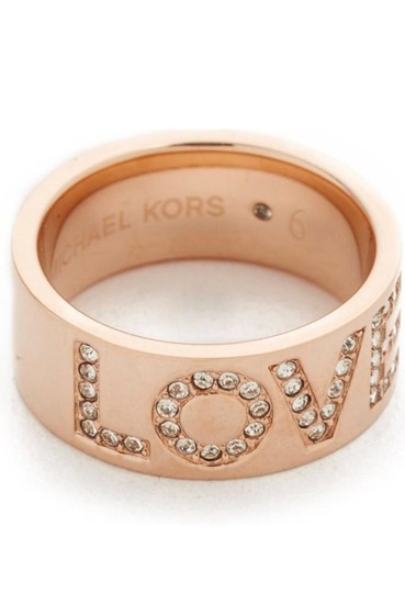 Michael Kors Rose Gold Mk Crystal Pave LOVE Thick Chunky Band Sz7 Ring Image 7