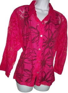 Chico's 2 Pc And Black Top magenta/red