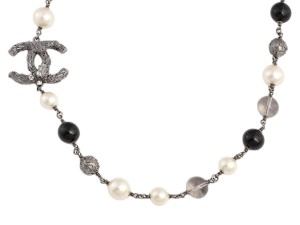 Chanel BEAD, PEARL, AND CRYSTAL LOGO LONG NECKLACE
