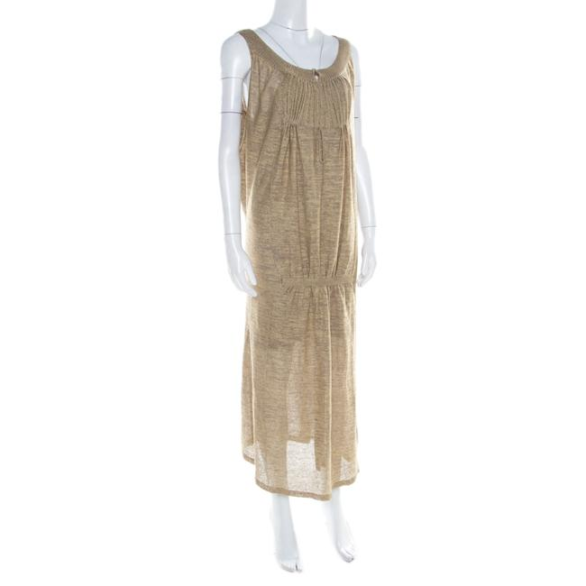 Beige Maxi Dress by Sonia Rykiel Knit Perforated Image 2