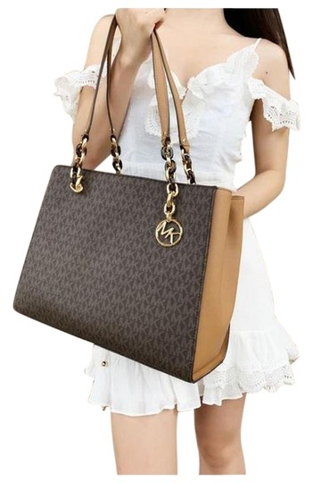 Preload https://img-static.tradesy.com/item/25703562/michael-kors-sofia-large-chain-mk-signature-acorn-brown-tote-0-1-540-540.jpg