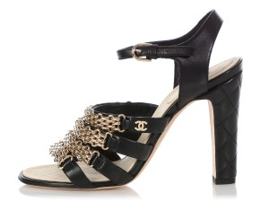 Chanel Ch.q0606.04 Quilted Gold Hardware Black Sandals