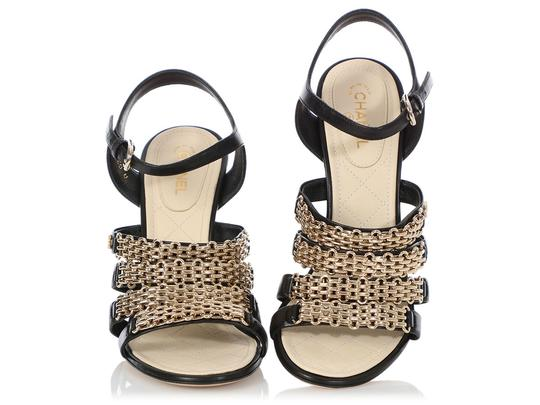 Chanel Ch.q0606.04 Quilted Gold Hardware Black Sandals Image 1
