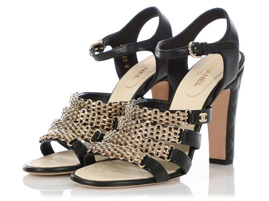 Chanel Ch.q0606.04 Quilted Gold Hardware Black Sandals Image 2