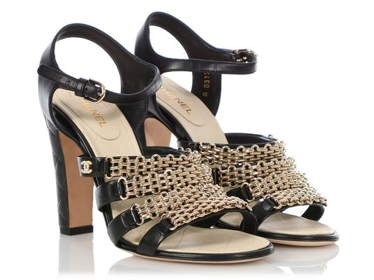 Chanel Ch.q0606.04 Quilted Gold Hardware Black Sandals Image 4