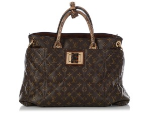 Louis Vuitton Lv.q0607.15 Python Snakeskin Quilted Gold Hardware Tote in Brown