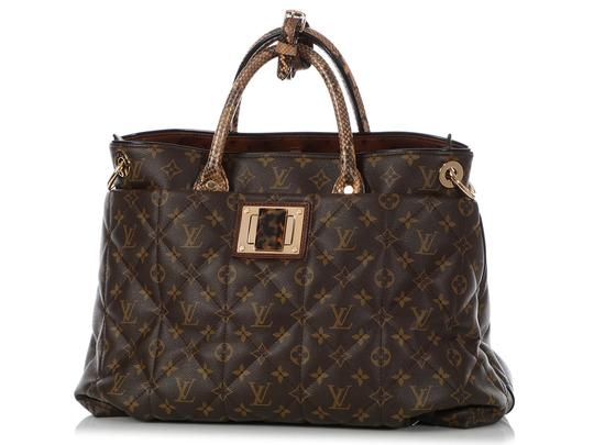Louis Vuitton Lv.q0607.15 Python Snakeskin Quilted Gold Hardware Tote in Brown Image 1