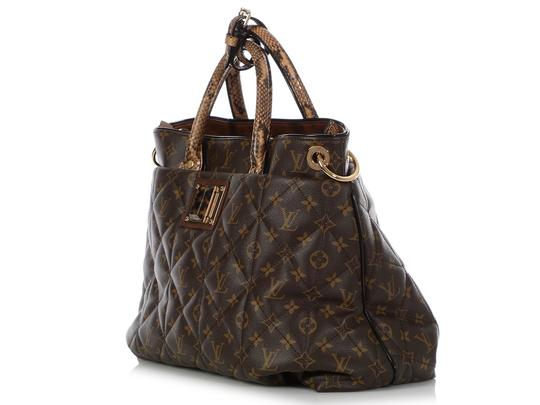 Louis Vuitton Lv.q0607.15 Python Snakeskin Quilted Gold Hardware Tote in Brown Image 2