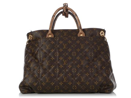 Louis Vuitton Lv.q0607.15 Python Snakeskin Quilted Gold Hardware Tote in Brown Image 3