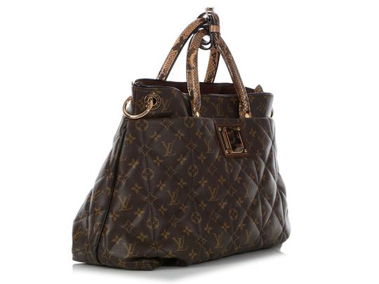 Louis Vuitton Lv.q0607.15 Python Snakeskin Quilted Gold Hardware Tote in Brown Image 4