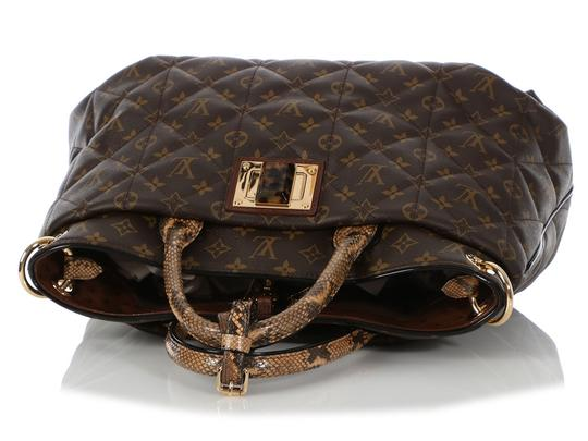 Louis Vuitton Lv.q0607.15 Python Snakeskin Quilted Gold Hardware Tote in Brown Image 6