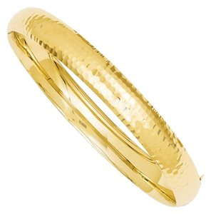 "Apples of Gold HAMMERED HINGED BANGLE BRACELET IN 14K YELLOW GOLD (5/16"")"