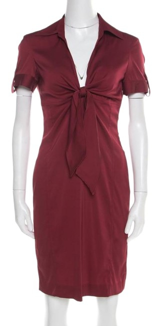 Preload https://img-static.tradesy.com/item/25703620/gucci-red-maroon-front-tie-detail-sleeve-short-night-out-dress-size-8-m-0-1-650-650.jpg