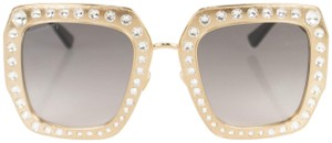 Gucci Gold Crystal Encrusted Oversized Square Frame Sunglasses