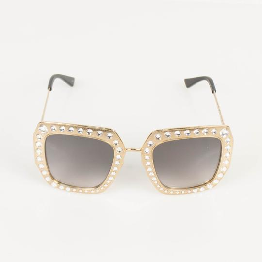 Gucci Gold Crystal Encrusted Oversized Square Frame Sunglasses Image 1