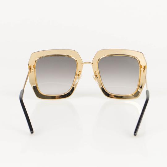 Gucci Gold Crystal Encrusted Oversized Square Frame Sunglasses Image 2