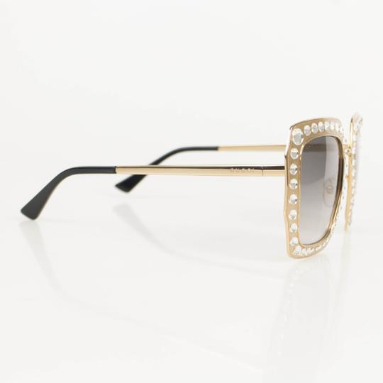 Gucci Gold Crystal Encrusted Oversized Square Frame Sunglasses Image 3