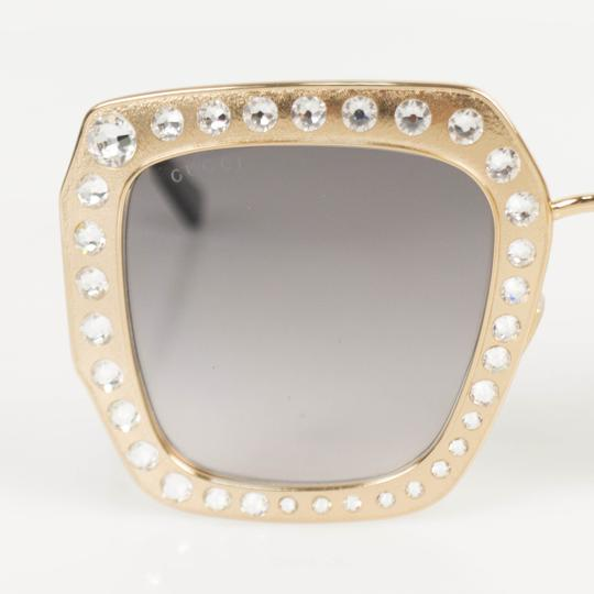 Gucci Gold Crystal Encrusted Oversized Square Frame Sunglasses Image 4
