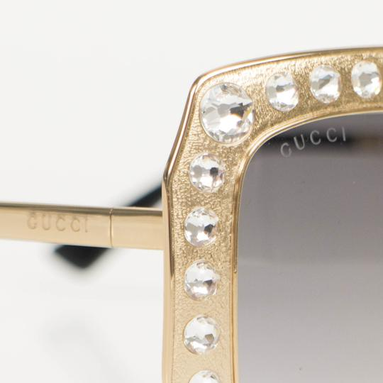 Gucci Gold Crystal Encrusted Oversized Square Frame Sunglasses Image 5
