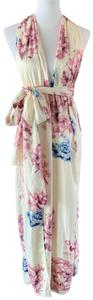 cream, floral Maxi Dress by Lilac Shade